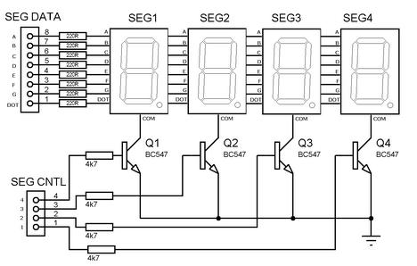 Multiplexed seven segment display circuit